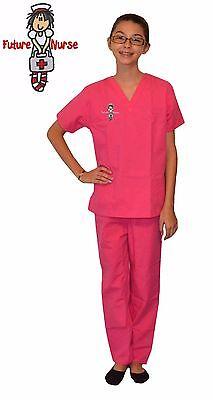 Kids Nurse Scrubs Hot Pink with Future Nurse Embroidery Design
