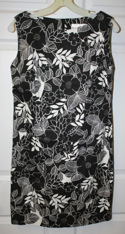 Womens Ladies New Danny & Nicole Black White Foral Print Sleeveless Dress Sz 6