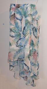 FTF Fashion to Figure Palm Print High-Low Chiffon Skirt Womens 1X Extra Large