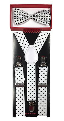 White with bk dot toddler bow tie and suspenders set - baby boy/girl Accesorries (Tie With Suspenders)
