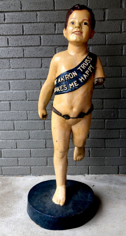 Antique Old King Cole Statue & Akron Truss Hernia Belt Medical Advertising Rare