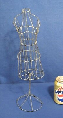 Vintage Antique Wire Metal Doll Dress Form 17 Tall Display Mannequin Clothing