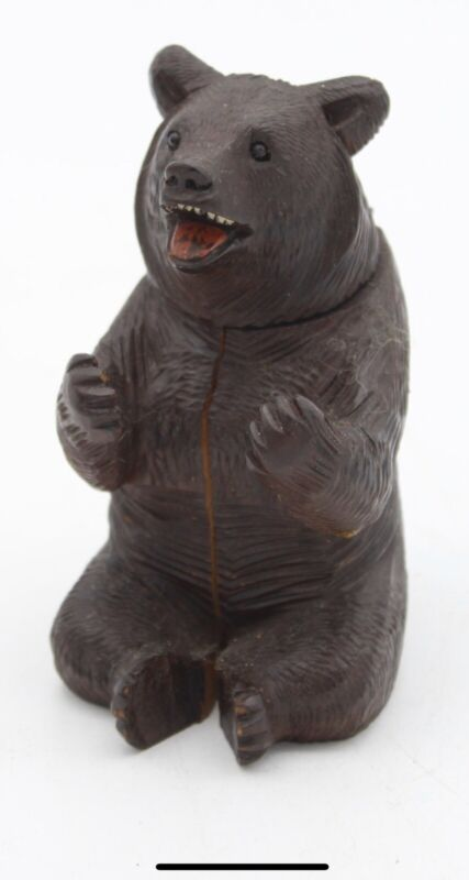 Antique Black Forest Carved Bear Tobacco Box
