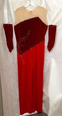Vintage Lady's Red Dance Jumpsuit With Fingerless - Dance Jumpsuit Kostüme