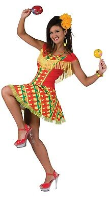 WOMEN'S MEXICAN SPANISH DANCER CHA CHA LADY DRESS ADULTS FANCY DRESS - Cha Dance Kostüm