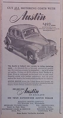 1950 newspaper ad for Austin - Cut all Motoring Costs, Austin illustration