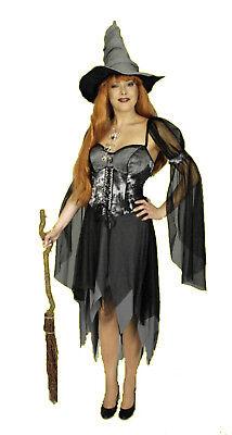 exkl 2tg Damen Mädchen HEXEN KOSTÜM Hexenhut Hexe Vampir Gothic Halloween NEU  ()