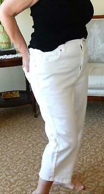GLORIA VANDERBILT White Flat Front Five Pocket Cropped Capri Jeans -  Size 12 Cropped Five Pocket Jeans