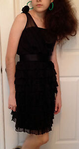 ABS Black Silk Sleeveless Ruffled Prom Cocktail Party Dress 80s Style Size 2 NEW