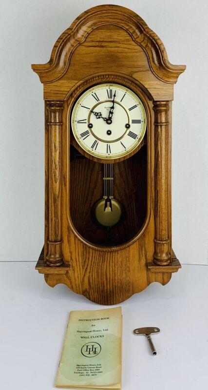 Harrington House Key Wind Westminster Chime Wall Clock Rare w/ Key Instructions
