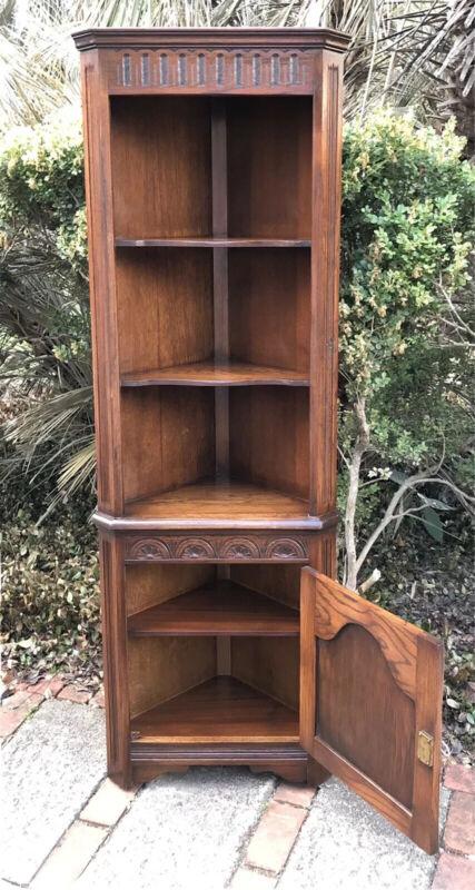 Vintage English Jacobean Oak Corner Cabinet Bookshelf Bookcase with key