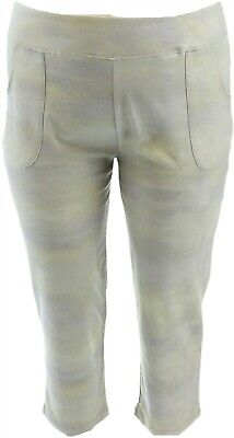 LOGO Lounge Lori Goldstein French Terry Ombre Crop Pant Green XXS NEW A274121 French Terry Crop Lounge Pant