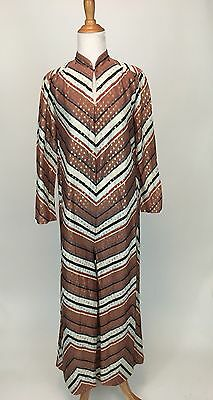 Vintage 1970s Striped Polka Dot Gold Lame Disco Jumpsuit Palazzo Wide Leg Pant M