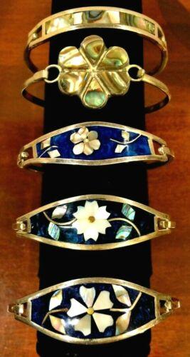 Lot of 5 SILVER ALPACA Inlaid Abalone Flower Hook Bracelets - Black, white B4115