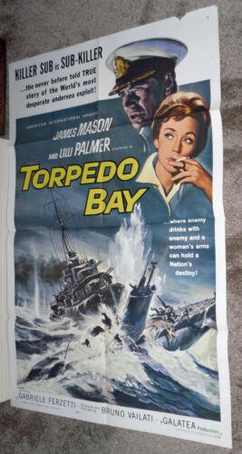 TORPEDO BAY original WW2 27x41 one sheet movie poster JAMES MASON/LILLI PALMER