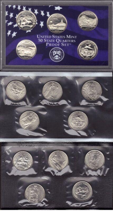 2006-P, D & S CLAD STATE QUARTER PROOF AND MINT SET SET ( 15 COINS )