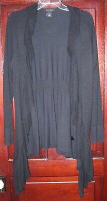 White House Black Market WHBM L M Cardigan Sweater Coat Ruffle Silk Knit Open