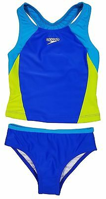 Speedo Girls Sporty Splice Tankini Swimwear 2 Piece Swimsuit               AB-20 - Girls Speedo 2 Piece Swimsuit