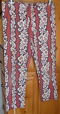 (HAWAIIAN SUNSHINE Hawaiian Floral Leis SCRUB LOUNGE Ankle PANTS Drawstring sz S)