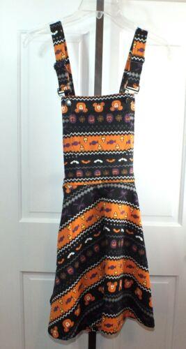Disney Hot Topic Halloween Costume Overalls Skirt Dress Mickey Pumpkins Size SM