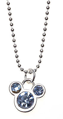 Authentic DISNEY MICKEY MOUSE Crystal Necklace -  light blue