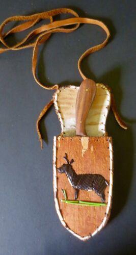 Neck Knife, DEER: porcupine quill birchbark sheath w/knife: Paul St John, Mohawk
