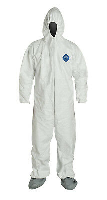 Dupont Ty122s Disposable Elastic Wrist Bootie Hood White Tyvek Coverall 1 Suit