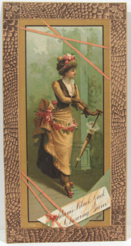 1880s Beautiful Adams Black Jack Gum Lithographic Advertisement
