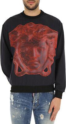 Versace Underwear Mens Black Graphic Medusa Print Sweatshirt size 6 (X-Large)