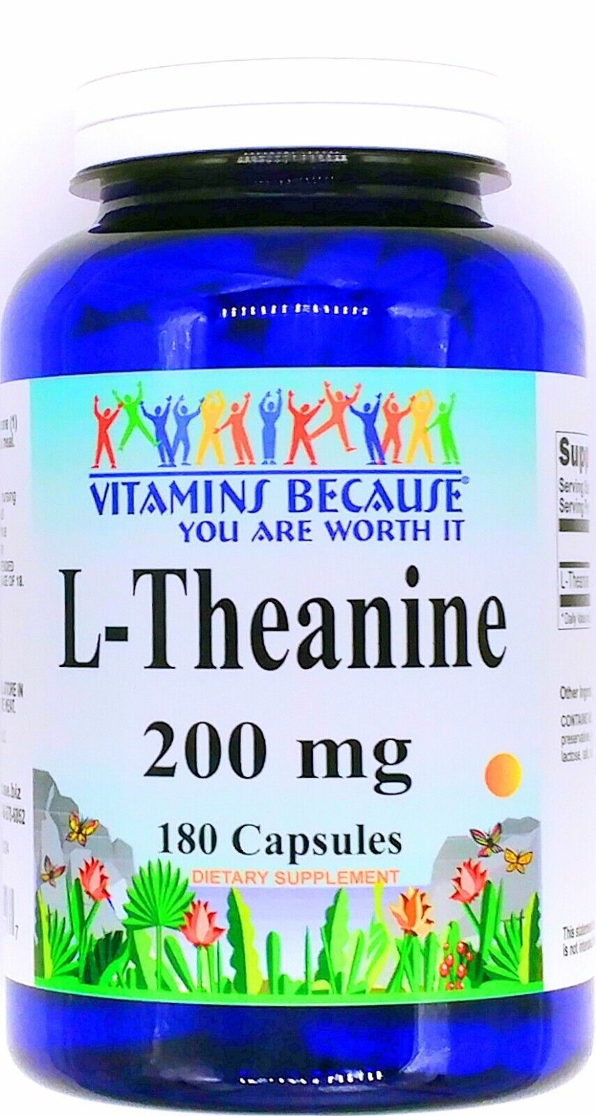 180 Capsules 200mg L Theanine Calming Relaxing Mood Support Supplement Pill VB