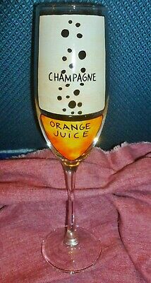 New MIMOSA GLASS w/ ORANGE JUICE & CHAMPAGNE Measurements Marked On Flute 9 1/2