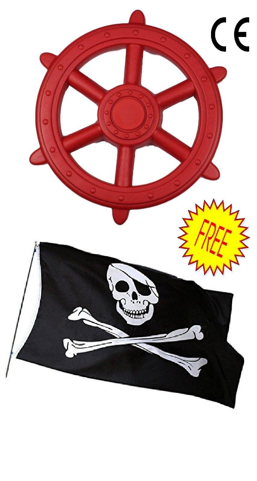 large red kids climbing frame pirate wheel free pirate flag