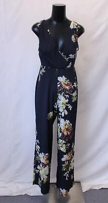 Hope & Ivy Women's Sleeveless V-Neck Floral Wide Leg Jumpsuit KB8 Navy US:8 NWT