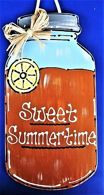 Mason Jar Art (MASON JAR Sweet Summertime SIGN Iced Tea Wall Art Door Hanger Plaque Porch Deck)