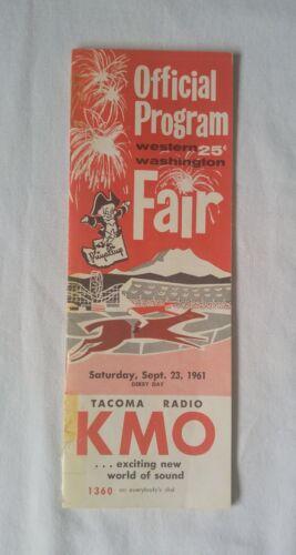 Vintage 1961 WESTERN WASHINGTON STATE FAIR Puyallup Program DERBY DAY Races 9/23