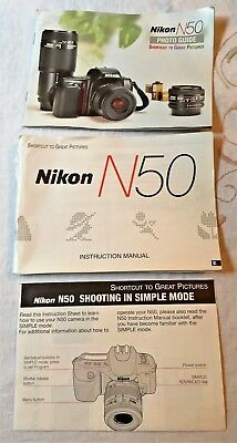 Lot of 3 Nikon N50 Original Manual, Shortcut to Creat Pictures & Photo Guide