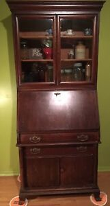 Antique slant front drop desk/secretary w drawers and cupboards