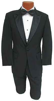 Men's Black Tuxedo with Pants Satin Peak Lapel Cheap Prom Wedding Mason Tux - Punk Suit