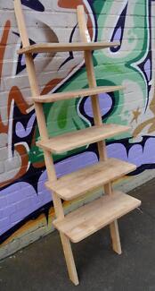 New Scandi Timber Bookcase Bookshelf Storage Ladder Home Decor
