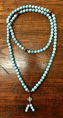 Handmade Turquoise Mala Necklace, 108 Beads (8301)