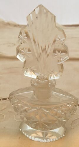 Vintage Signed Made in Czechoslovakia Dauber Crystal Perfume Bottle 5""