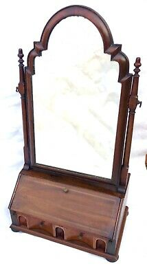 Antique Inlaid Walnut Table Top Bureau Dressing Table Mirror with Secret Drawer