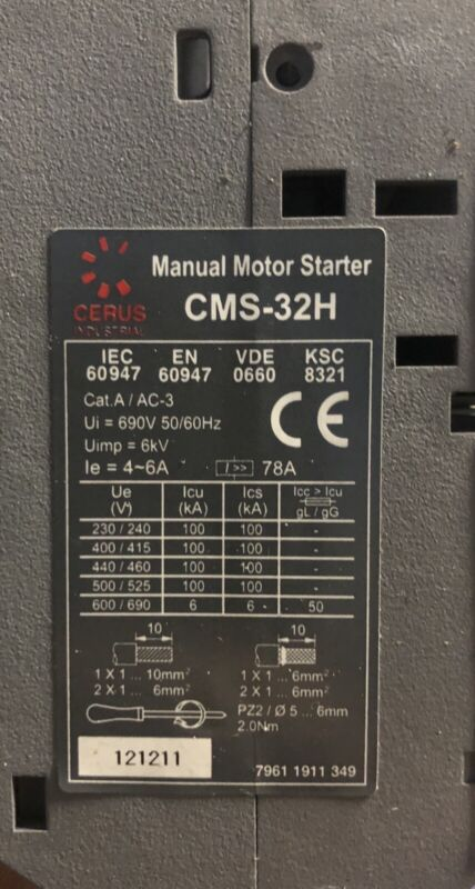 Cerus Industrial CMS-32H Manual Motor Starter Protector 2-6A