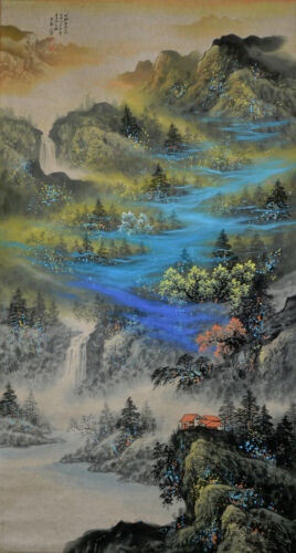 Superb Large Chinese Watercolor Landscape Hanging Scroll Painting - Zhang Daqian