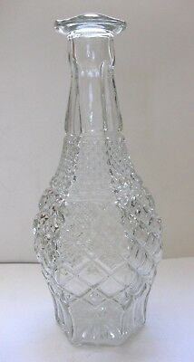 Vtg Hexagon Shaped Diamond Cut Crystal Glass Liquor Decanter   No Stopper