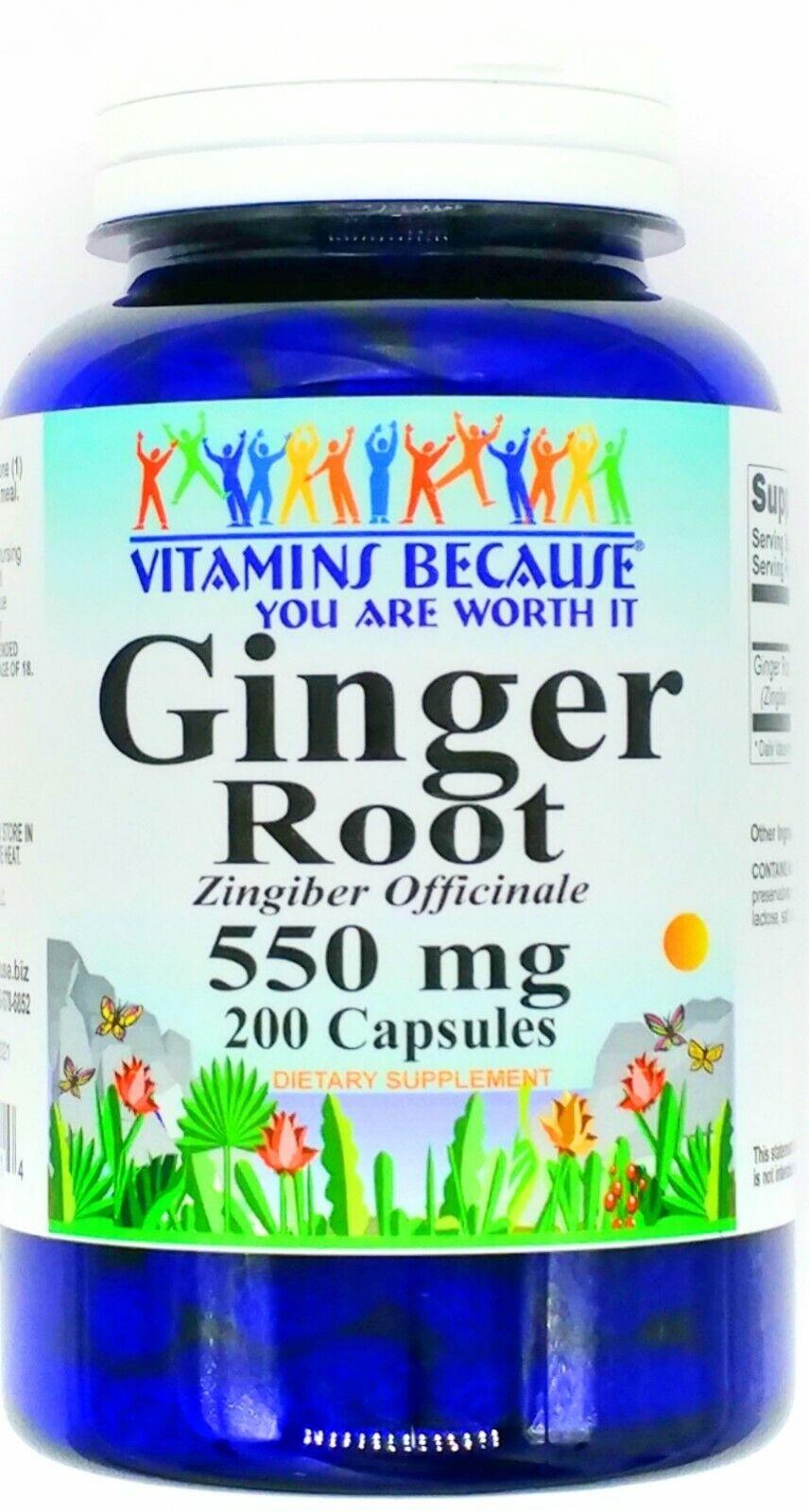 200 Capsule 550mg Ginger Root Motion Sickness Nausea Natural Gluten Free Pill VB