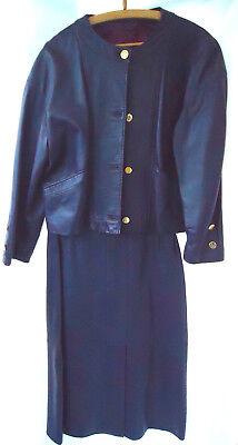 Real Leather Purple Jacket & Skirt Vintage 80's Sz 14 / 46 Vera Pelle John Lewis