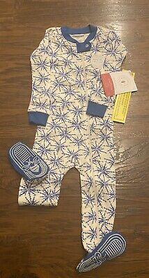 Burt's Bees Baby Newborn Jammies Pajamas Footie Sleeper Icy Snowflakes Organic
