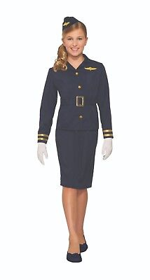 Child Stewardess Fly Attendant Costume 3 Size For Fancy Dress Book Week Party
