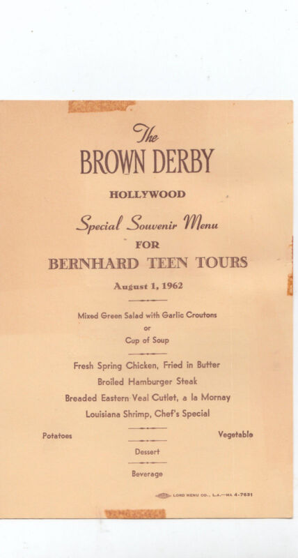 Vintage Brown Derby Souvenir Menu Bernhard Teen Tours Hollywood California 1962